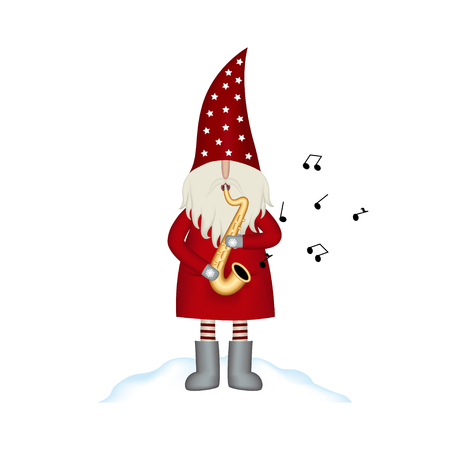 Christmas vector card Santa Claus on white with saxophone