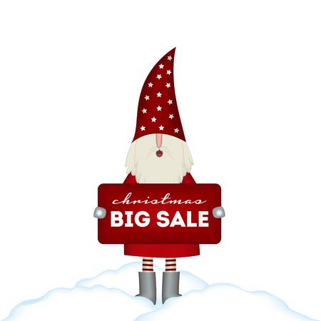 Christmas card sale. Nisse Santa Claus scandinavian folk style, in red fur coat, holding banner, vector illustration for advertising 일러스트