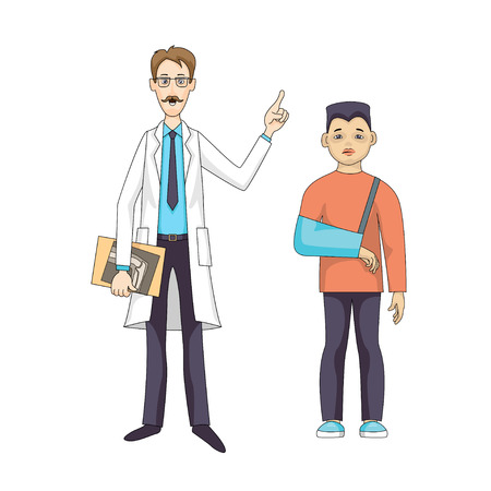 Caucasian doctor stand and talking, in white coat with X-ray. Young asian sad boy in bandage hands. Vector illustration isolated on white background. 일러스트