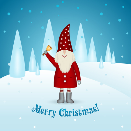 Christmas card on a winter background. Happy smiling santa claus leprechaun with bell in hand in the woods cartoon. Festive traditions. Banner vector illustration