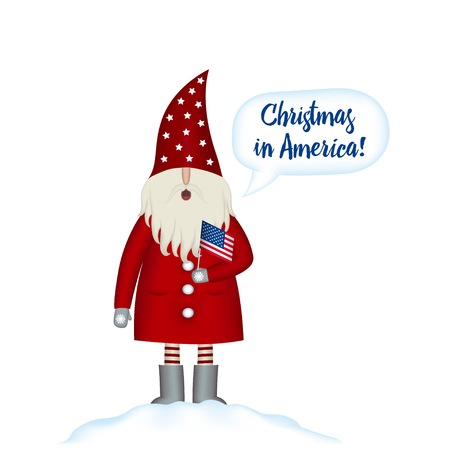 Christmas card template. Festive Holidays in in America. Cartoon happy Santa Claus with american flag in hand