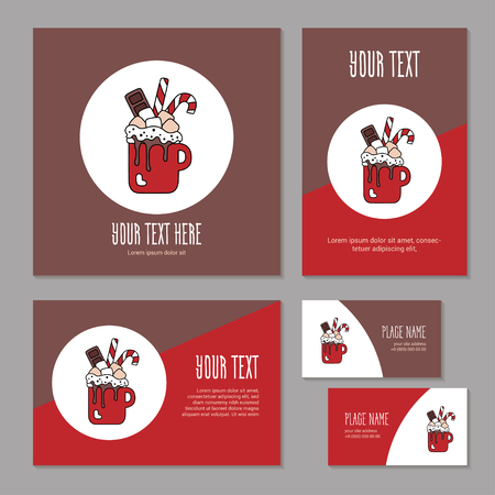 Set greeting card for corporate branding. Christmas sweet drink. Hot chocolate with marshmallow, candies and chocolate in cup. Template cover brochure, booklet and business card