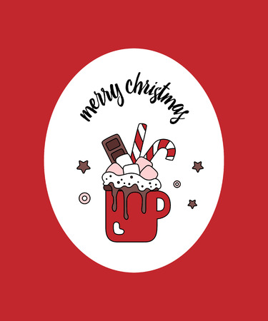 Greeting vertical card in oval on red background. Christmas sweet winter cartoon drink. Hot chocolate with marshmallow, candies and chocolate in cup isolated. Sweetest Day. Vector illustration.