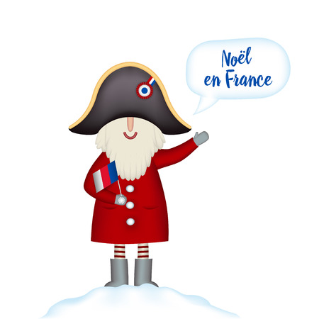 Christmas card template. Festive Holidays in France. Cartoon happy Santa Claus in napoleons hat with flag in hand stands in snowdrift, isolated. Vector illustration 일러스트