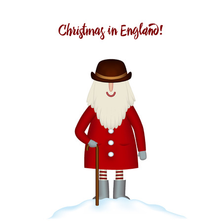 Christmas card template. Festive Holidays in England. Smiling cartoon happy Santa in hat and red coat with a cane, stands in snowdrift, isolated. Vector illustration