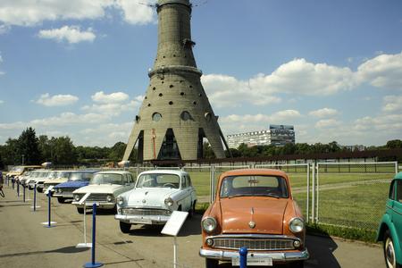 Soviet-era retro car exhibition near the Ostankino tower,