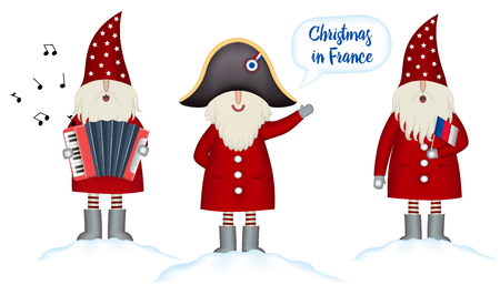 Set Christmas card template. Festive Holidays in France invitation. Cartoon happy Santa Claus in napoleon s hat hails, with french flag and accordion in hand stands in snowdrift, isolated, vector