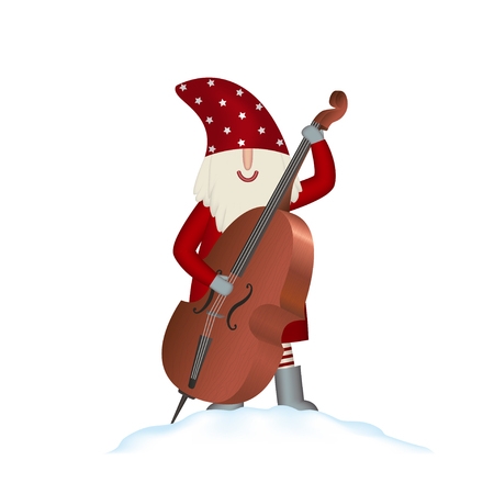 Christmas festive template greeting card, Nisse Santa Claus in red coat playing jazz, musician with contrabass in snowdrift isolated on white background, vector illustration