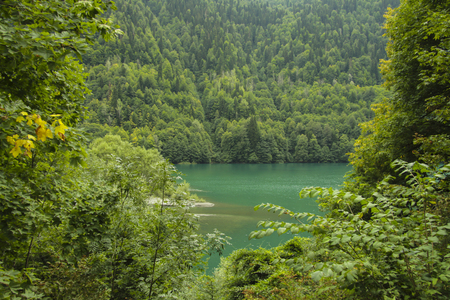 Beautiful panorama of natural mountain landscape and lake.