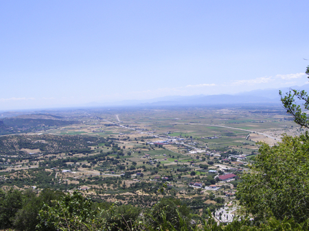 Panorama view from the observation deck at the top of the mountain range.