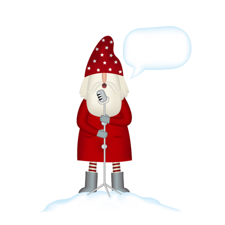 Holiday card template on white background. Christmas party. Happy santa claus singing into microphone and bubble for text isolated. Vector illustration.