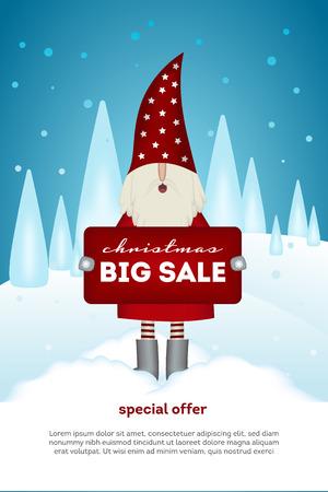 Christmas sale vertical flyer. Nisse Santa Claus scandinavian folk style, in red fur coat, holding banner in forest, vector illustration for advertising