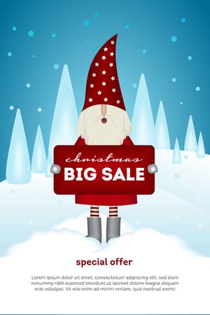Christmas sale card cute Santa Claus holding a banner