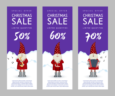 Set of narrow musical vertical banners christmas sale. Nisse musician Santa Claus folk style, in red fur coat, with saxophone, drum and accordion, vector illustration for advertising