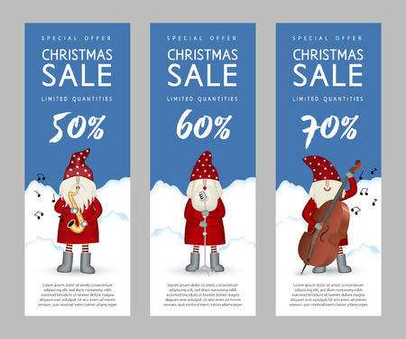 Set of narrow musical vertical banners christmas sale. Nisse musician Santa Claus folk style, in red fur coat, with saxophone, double bass and microphone, vector illustration for advertising