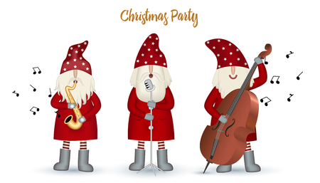 Set nisse musician Santa Claus, Christmas motive in red coat, musician with with musical instruments and note isolated on white background. Christmas party, jazz band. Vector illustration