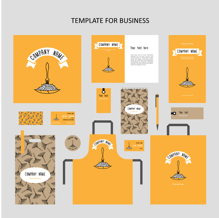 Elements of corporate identity for a restaurant, cafe. Corporate branding. Fork in plate with spaghetti. Template cover menu, booklet, business card, apron etc. Yellow, white lines on kraft paper