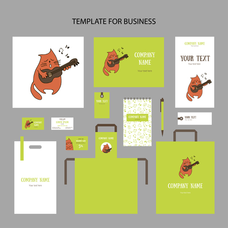 Spring animalistic elements of corporate identity for business on green background. Cute singing red cartoon cat with a guitar and notes isolated. Brochures, cards, packages and price tags, vector Ilustrace