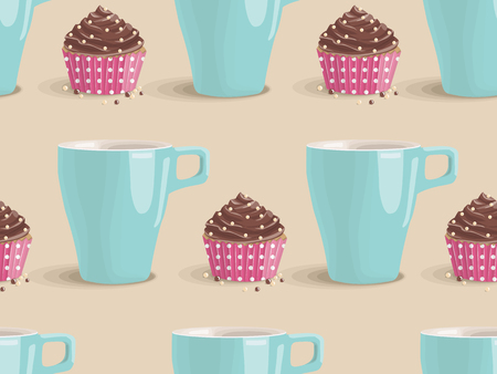 Seamless vector pattern of delicate pastries. Sweet cake with chocolate cream and turquoise cup on light background. Design concept for fabric, textile printing, wrapping paper or web
