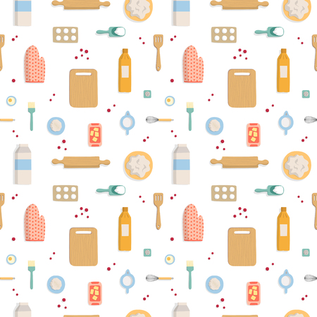 Seamless pattern on white background baking flat top view. Ingredients and items for making the cake isolated. Texture for textiles, wrapping paper and website. Vector illustration Ilustrace