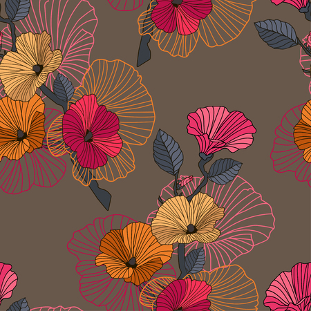 Vector abstract floral seamless pattern. Branch with red, orange and pink flowers with outline hand drawn on brown background. Design concept for fabric design, textile print, wrapping paper or web.