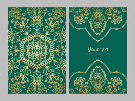 Greeting card golden ethnic patterns on green background Ilustrace