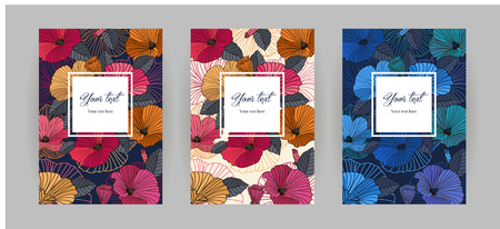Set of festive floral vertical covers templates. Abstract flowers with leaves Asia style line art, vector illustration