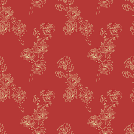 Asian floral seamless pattern with light lines on a red background. Abstract flowers and buds on sakura branches. Print for fabric, packaging and web site. Vector illustration