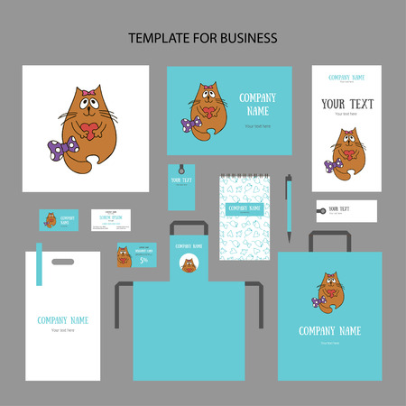 Set of animalistic elements of corporate identity for store, veterinary clinic, shelter. Cute red cat in love with a bow and heart on a turquoise background. Booklet and discount card, vector Ilustrace