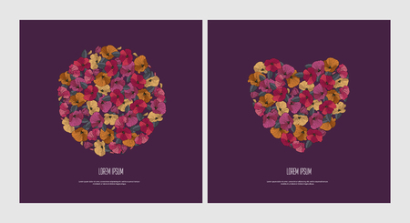 Covers set of greeting flower covers for Valentine s Day and birthday. A wreath of red, orange, pink flowers round and heart on dark background. Vector illustration