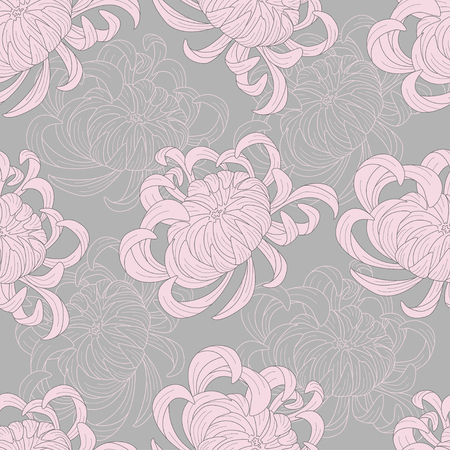 Abstract seamless floral pattern sketch pastel colors. Pink chrysanthemum flowers on a gray background. Lines and color. Texture for, packaging, web site. Vector illustration.
