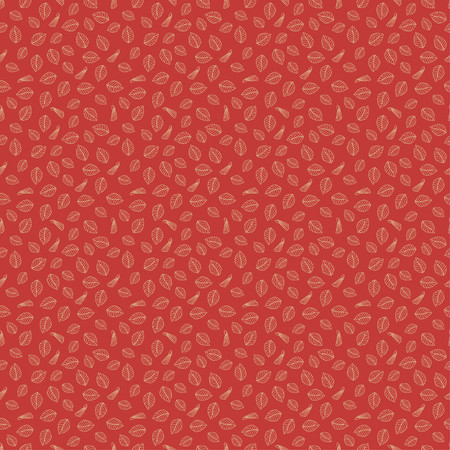 Asian floral seamless small pattern with light lines on a red background. Abstract leaves and buds. Print for fabric, packaging and web site. Vector illustration