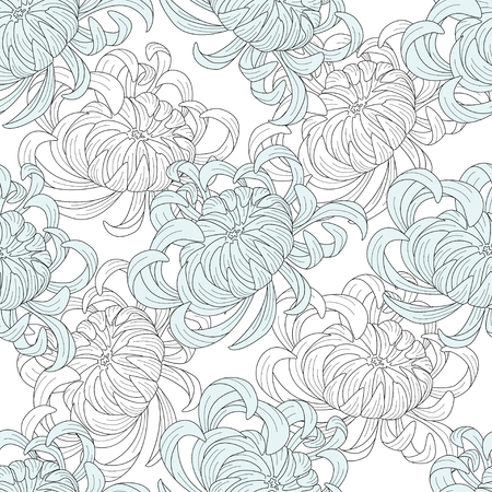 Abstract seamless floral pattern sketch pastel colors. White and blue chrysanthemum flowers on white background. Lines and color. Texture for, packaging, web site. Vector illustration. Ilustrace