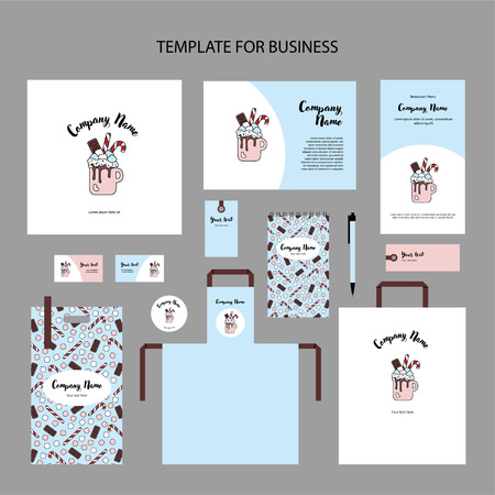 Elements of corporate identity for a restaurant, cafe. Christmas sweet drink. Hot chocolate with marshmallow, candies and chocolate in cup. Template cover, vector illustration