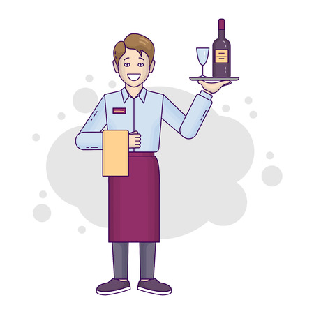 Banner flat-line male restaurant worker isolated. A young waiter is in an apron with a tray, a glass goblet and alcohol. Vector illustration Ilustrace