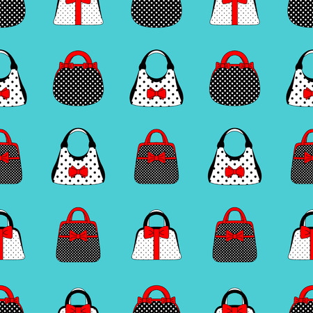 Seamless pattern of womens accessories vintage style. Hand bags are red, black and white with a bow on a turquoise background. For textiles, packaging, website. Vector illustration Ilustrace