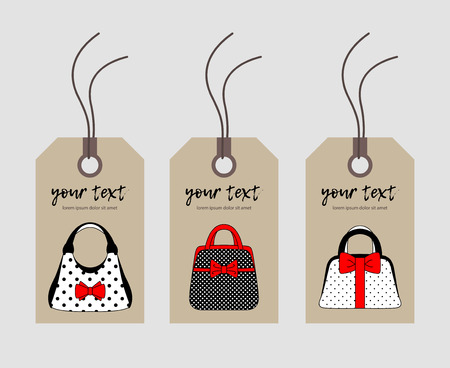 Set price tag of womens accessories vintage style. Hand bags are red, black and white with a bow on a kraft background. For textiles, packaging, website. Vector illustration Ilustrace
