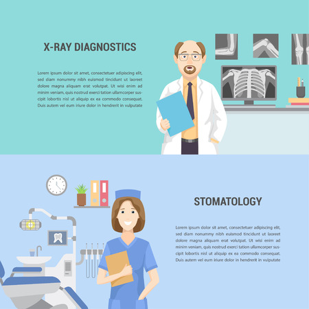 Set of horizontal medical banners flat design.