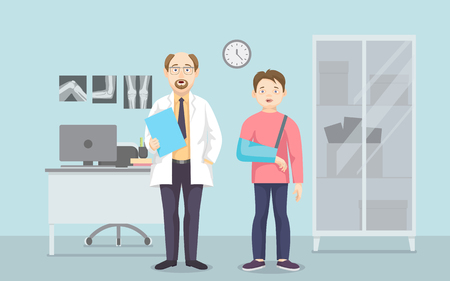 Horizontal medical banners flat design. Male doctor in lab coat. Orthopedic office. X-rays and computer. Teen boy with hand injury in bandage. Vector illustration Ilustrace