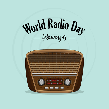 Vintage international radio day banner on light background. Reklamní fotografie - 117498390