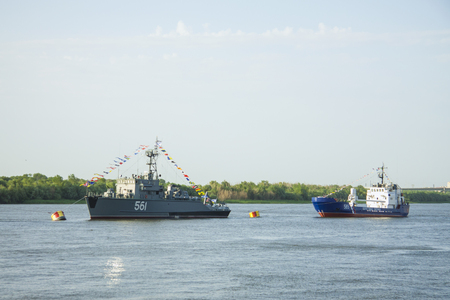 ASTRAKHAN, RUSSIA JULY 28 2018: The warships of the Caspian Flotilla Reklamní fotografie - 117480359