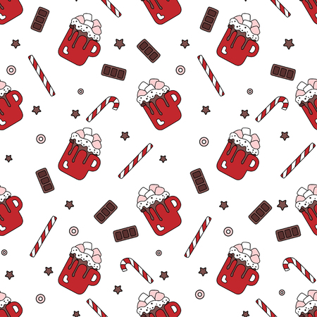 Seamless pattern of sweets on a white background cartoon. Ingredients for the Marshmallow, lollipops and chocolate isolated. Vector illustration. Print for textile, wrapping paper and site, vector Ilustrace