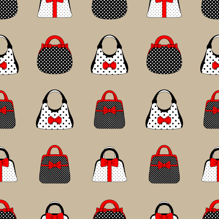 Seamless pattern of womens accessories vintage style. Hand bags are red, black and white with a bow. For textiles, packaging, website. Vector illustration