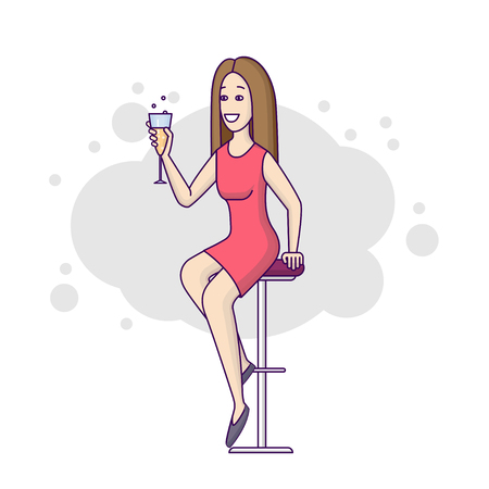 Woman in the bar flat line on a white background. Happy girl in a restaurant in a red dress with a glass of alcohol is sitting on a high chair. Vector illustration