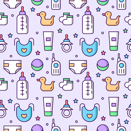 Seamless childrens pattern on a light flat line background. Accessories and toys for kids isolated. Bottle, nipple, etc. Vector illustration