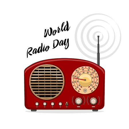 Vintage international radio day banner on light background. 向量圖像