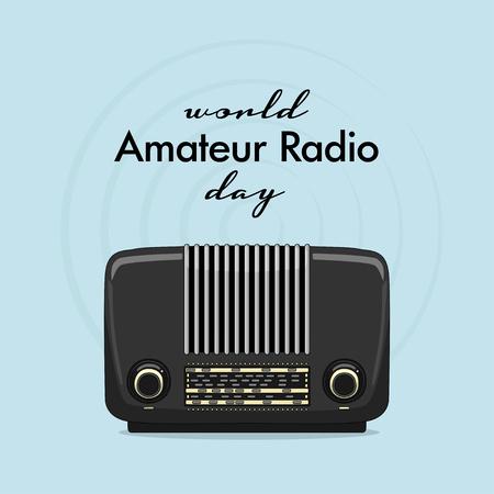 Vintage international radio day banner on light background. Illustration