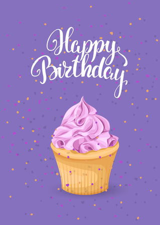 Sweet dessert on a bright background with an inscription greeting card. Happy birthday cake with pink cream and cookies on a purple background, template vector 일러스트