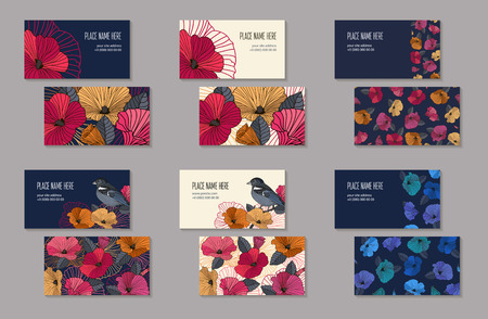 Set of business cards templates for company branding. Abstract red orange pink and blue flowers and bird on a dark and light background. Vector illustration 일러스트