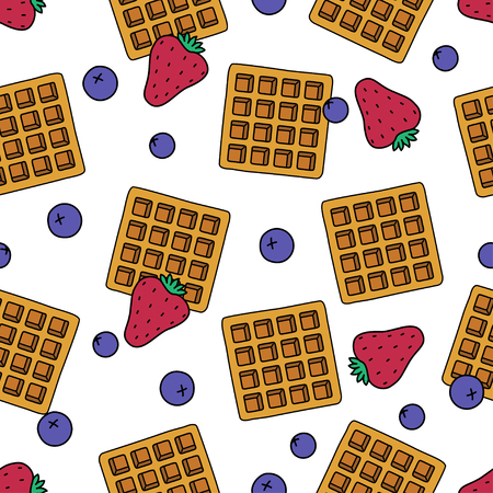 Sweet dessert and fruit seamless pattern cartoon isolated. Fresh belgian waffles, strawberries and blueberries on white background. Vector illustration. For textiles, packaging and website